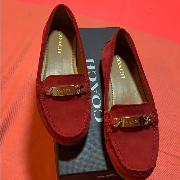 Red suède driver shoes!